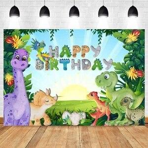 Dinosaur Jungle Forest Animal Safari Party Newborn Baby Shower Boy Birthday Backdrop Photography Background for Photo Studio
