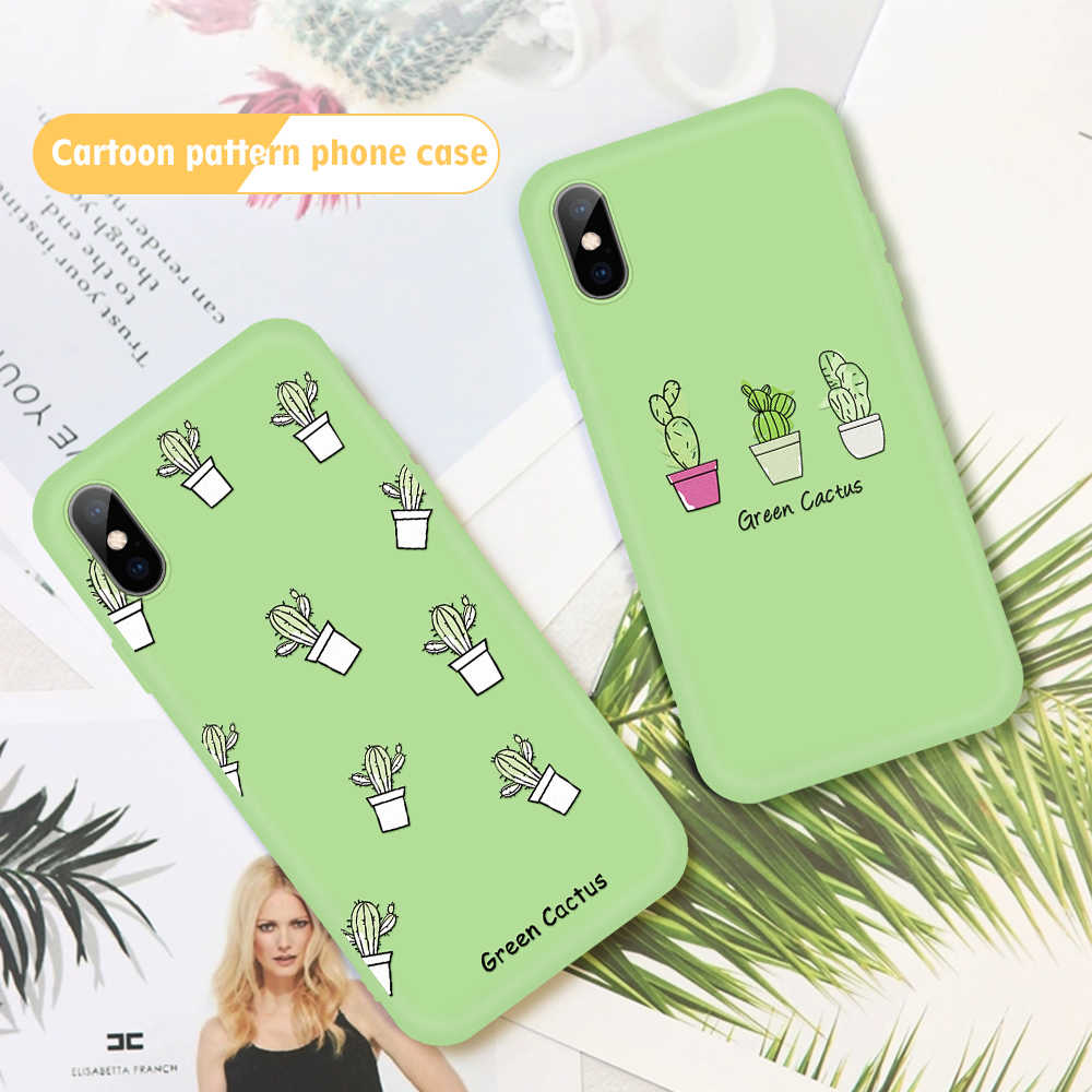 For iPhone 11 Pro Max Green Pattern TPU Case For iphone XS Max XR X 7 8 6 6S Plus 5 5S SE Cute Cactus Cases Soft Silicone Cover