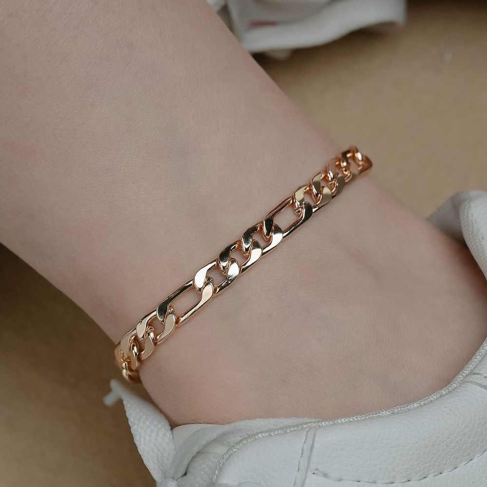 קובני קישור שרשרת עכס לנשים 14K זהב צבע פיגארו צמידי קרסול צמיד על רגל שרשרת יחף סנדלי בוהמיה תכשיטים על רגל