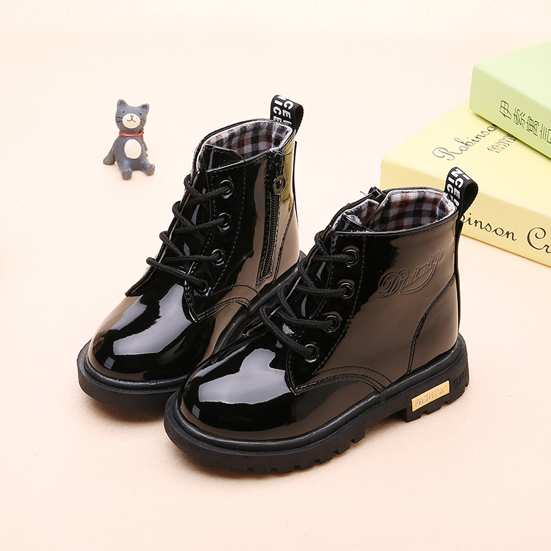 2020 New Winter Children Shoes PU Leather Waterproof Martin Boots Kids Snow Boots Brand Girls Boys Rubber Boots Fashion Sneakers 3