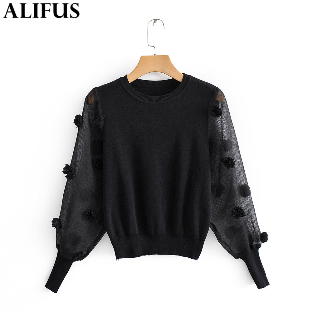 Fashion Za Women Sweaters Autumn Stylish Patchwork Knitted Ladies' Sweater Transparent Spliced Long Sleeve Pullovers Jumper Top