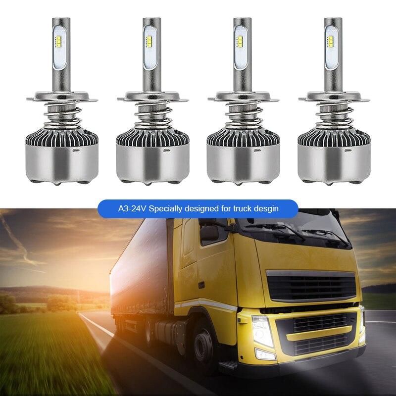 EURS led H7 H4 H11 автомобильный головной светильник H1 H3 светильник для грузовика H8 H9 светодиодный светильник 24 В Авто фара Canbus без ошибок 6000K 80w 8000LM ...