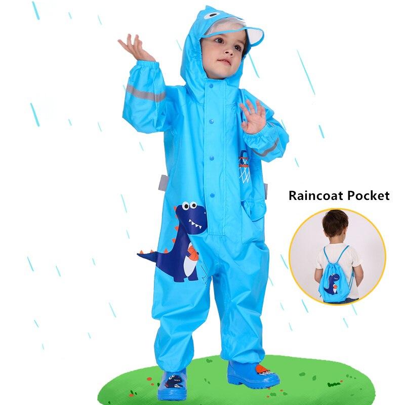 1-10 Years Old Kids Blue Dinosaurs Raincoat Outdoor Jumpsuits Waterproof Rainwear Baby Boy Girl Raincoat And Rain Pants Suit