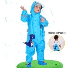 1 10 Years Old Kids Blue Dinosaurs Raincoat Outdoor Jumpsuits Waterproof Rainwear Baby Boy Girl Raincoat And Rain Pants Suit