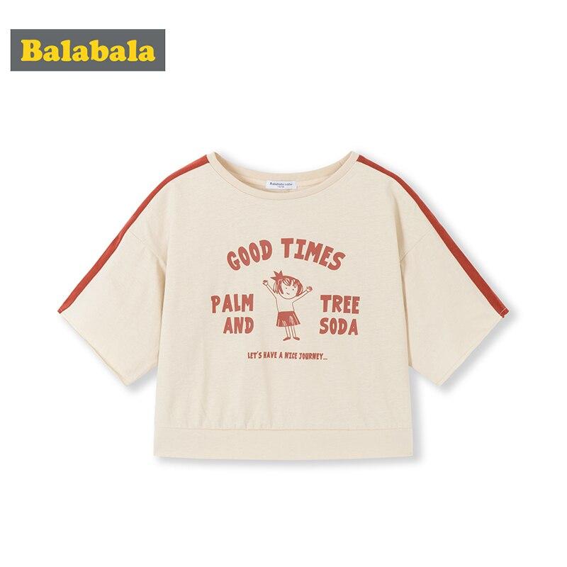 Balabala Girls Baby T-shirt Short Sleeve 2020 Summer Fashion Children Cotton Top Loose Cartoon Cute(China)