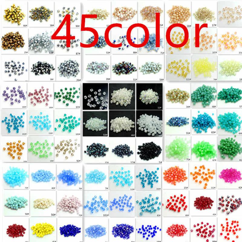 3mm 4mm 6mm Bicone faceted Crystal Glass Loose Spacer Beads 5301#  DIY