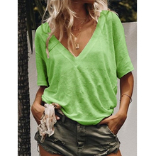 купить Spring and summer new style solid color short-sleeve V-neck short-sleeved solid color casual T-shirt дешево