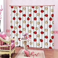 Red fruit curtains 3D Window Curtain Dinosaur print Luxury Blackout For Living Room Decoration curtains