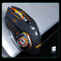 Nuevo ratón inalámbrico 7 colores Luz de respiración recargable ordenador portátil 2,4G 6 botones ratón para juegos