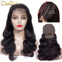 Ossilee – perruque Lace Front Wig Body Wave brésilienne Remy, cheveux naturels, 8-22 pouces, 13x6, pre-plucked, densité 150%, faible Ratio
