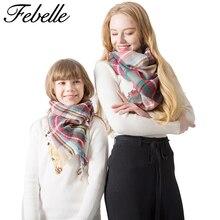 Febelle, зимний шарф для родителей и детей, женский роскошный брендовый клетчатый теплый кашемировый шарф, пашмины, треугольный шарф для девочек