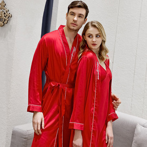 Image 4 - Spring and Summer Newest Simulation Silk Couples Nightgown Men and Women Embroidered Morning Bride Bridesmaid Nightrobe