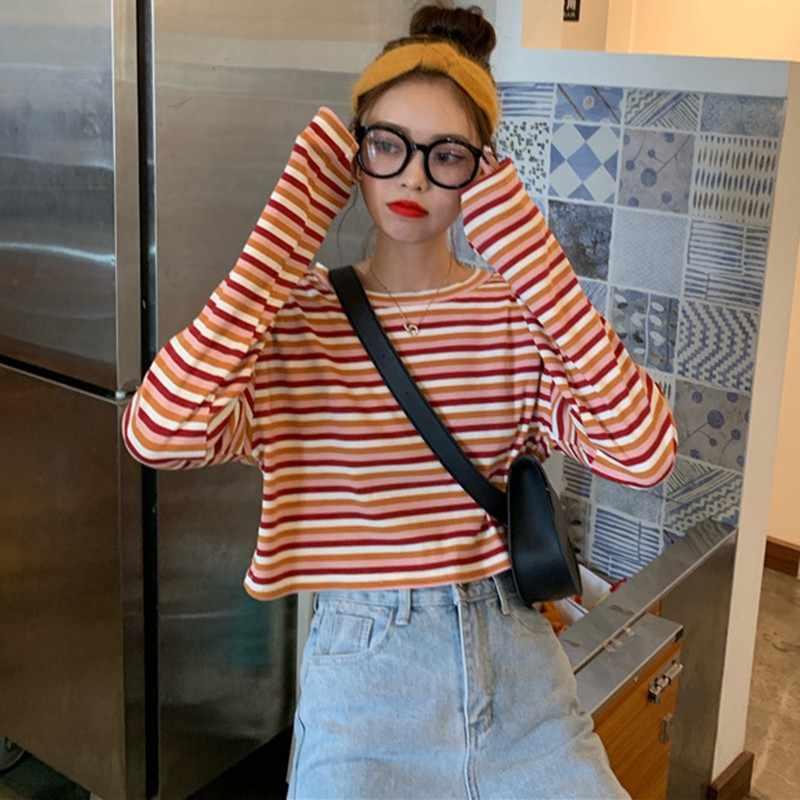 Harajuku Coreano Dolce T-Shirt A Maniche Lunghe A Righe Amici Kawaii Donne di Inverno di Autunno casual di Base Uno Sconosciuto Le Cose