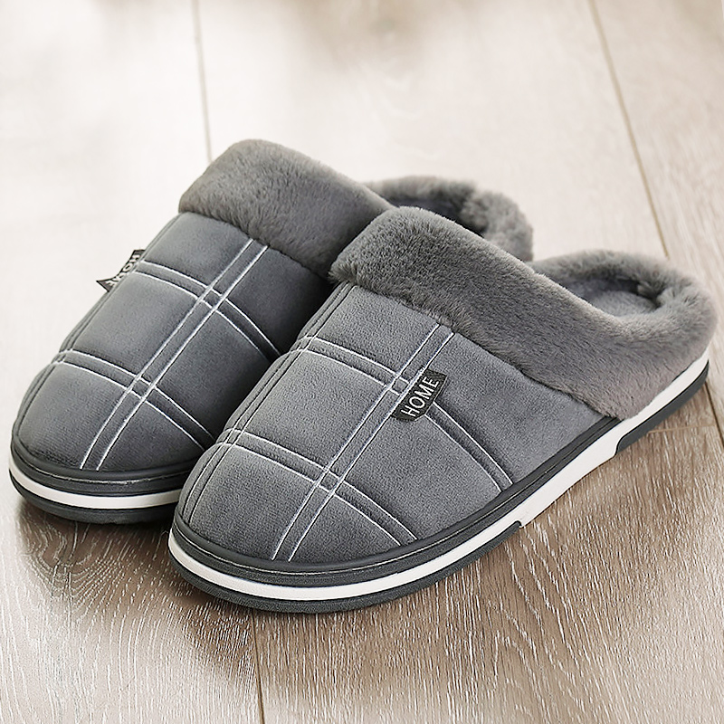 Home slippers Women Big Size 43-51 Fashion Flock Gingham Comfortable Winter Slippers Ladies TPR Non Slip Warm House Shoes Indoor