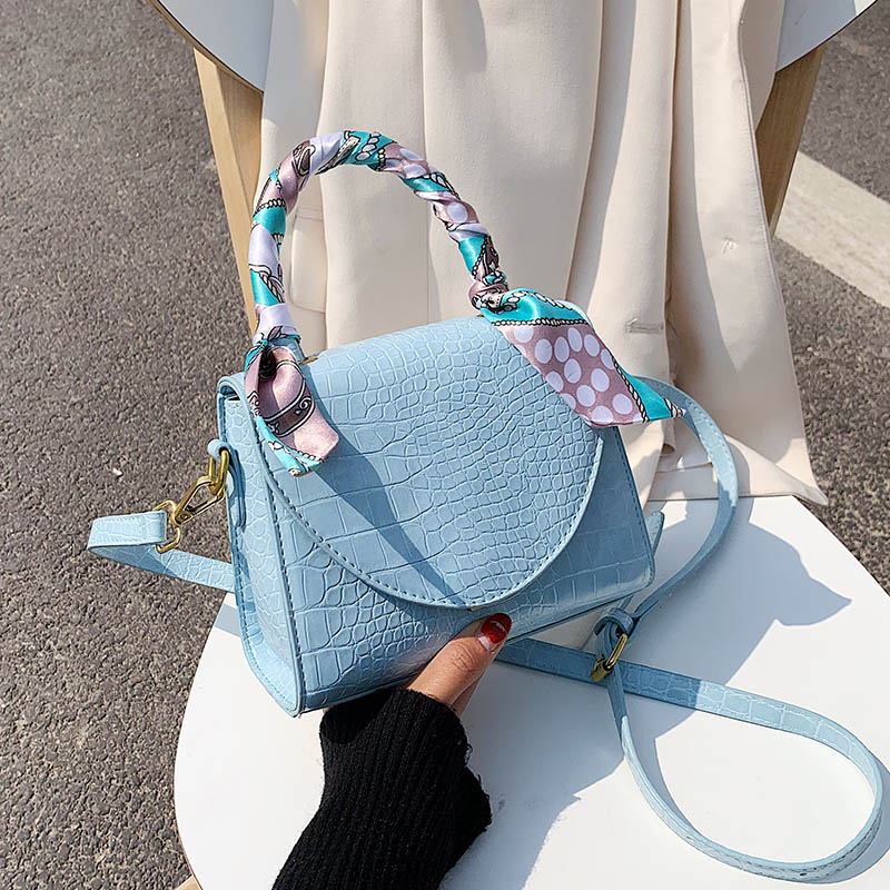 Crocodile Pattern PU Leather Crossbody Bags For Women 2020 Female Shoulder Handbags Lady Totes With Scarves Design