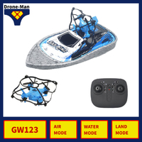 GW123 Mini 3 In 1 Triphibian Vehicle Drone Boat Car Air Water Land 3 Mode RC Quadcopter Pocket Dron Aircraft Foldable Toys Kid