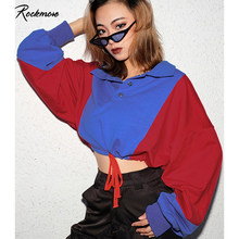 Rockmore Women Long Sleeve Panelled Sweatshirts Korea Oversized Patchwork Drawstring Pullovers Plus Size Cropped Top Femme Fall(China)