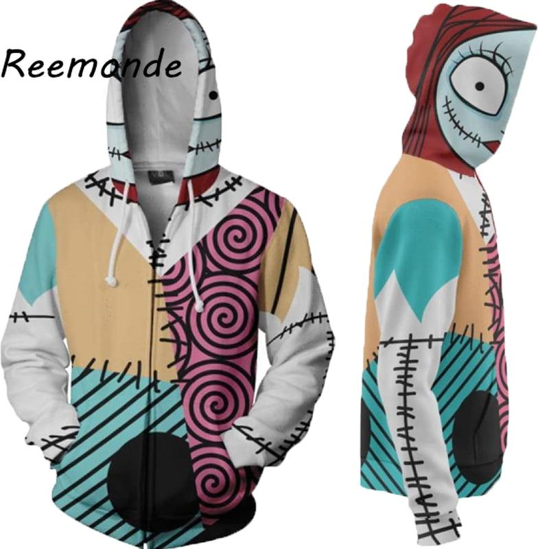 Unisex Adults Nightmare Before Christmas Jack Skeleton Black Zip Hoodie T Shirt