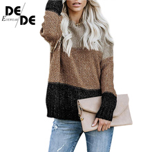 Women Patchwork Womens Sweaters Pullovers Oversize Colorful Striped Knitting Jumpers Female Autumn Winter Warm Knitted Sweater