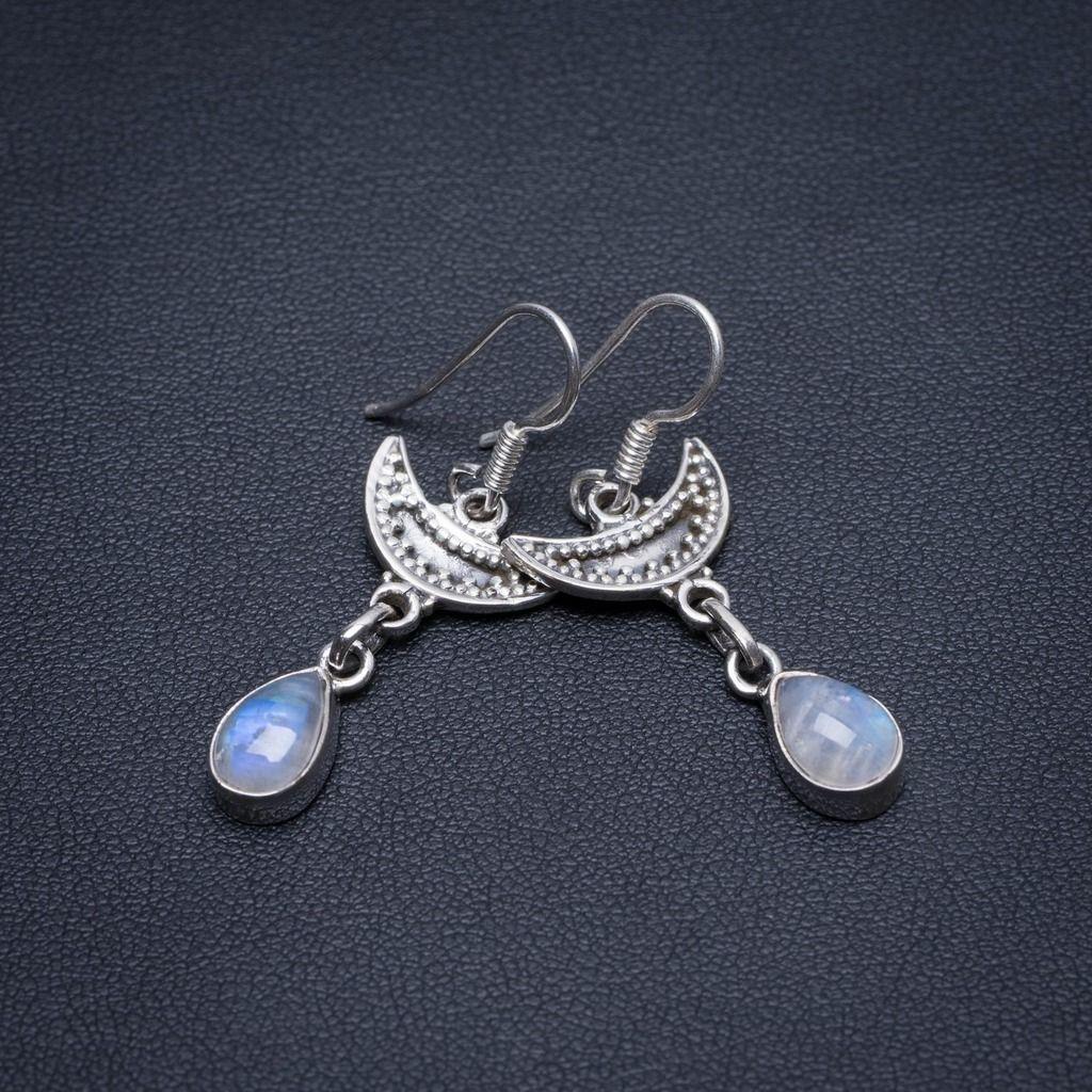 Natural Rainbow Moonstone Handmade Vintage 925 Sterling Silver Earrings 1 1/2 S1850