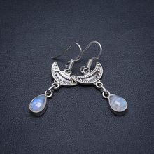 Natural Rainbow Moonstone Handmade Vintage 925 Sterling Silver Earrings 1 1/2