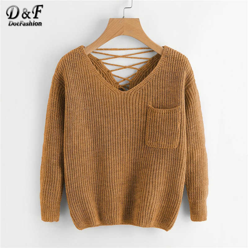 Dotfashion Casual V Neck Pocket Sweater Women 2019 Autumn Khaki Long Sleeve Sweaters Ladies Back Criss-cross Detail Top
