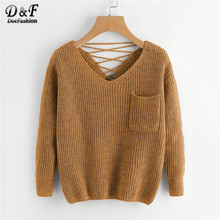 Dotfashion Casual V Neck Pocket Sweater Women 2019 Autumn Khaki Long Sleeve Sweaters Ladies Back Criss-cross Detail Top(China)