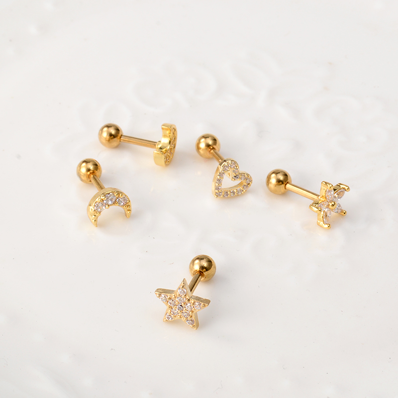 1 Pcs Stainless Steel Cross Heart Moon Star Piercing Cz Ear Studs Helix Piercing Rose Gold Color Cartilage Earring Tragus Conch