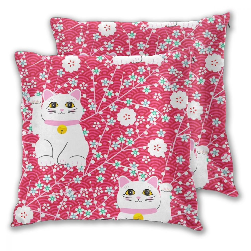 Pillow Case Cover Japanese Lucky Cats Home Decorative 2 Pieces Zipper Throw Cushion Case for Sofa and Bed
