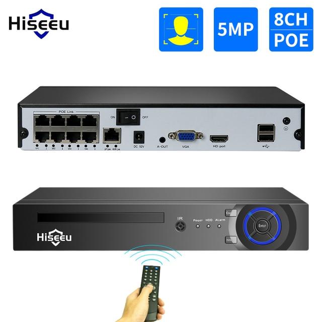 Hiseeu 보안 감시 H.265 4CH/8CH POE NVR HD 1080P 4MP 5MP POE IP 카메라 NVR AI 얼굴 감지 네트워크 비디오 레코더