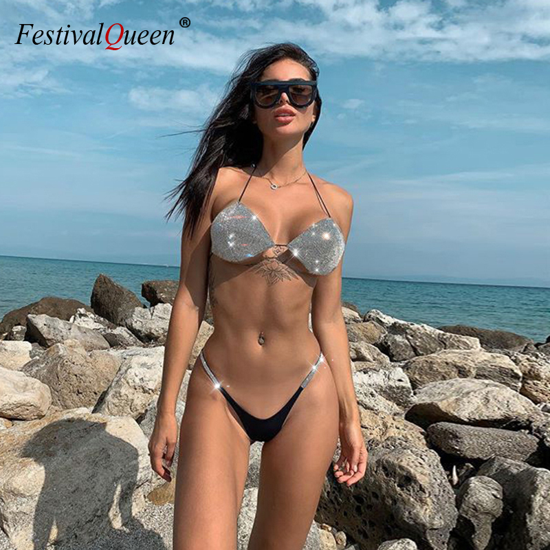 Women Sequins Rhinestones Diamond Bikini Set Female Silver Push Up Halter Beach Bathing Bikini Suit Swimsuit