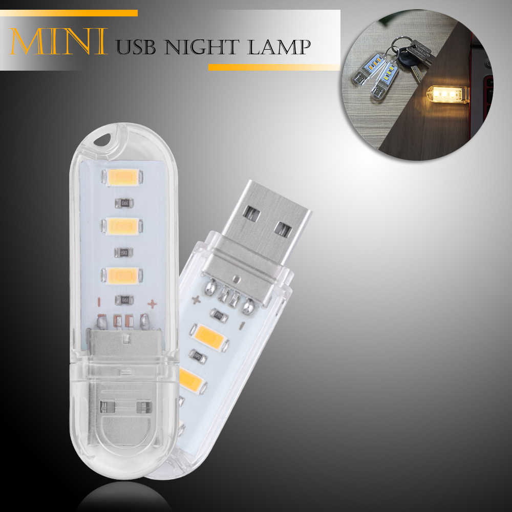 Draagbare Mini 3-LED USB Light Night Lamp Outdoor Camping Licht SMD 5730 Voor PC Desktop Laptop Notebook Reading power Bank