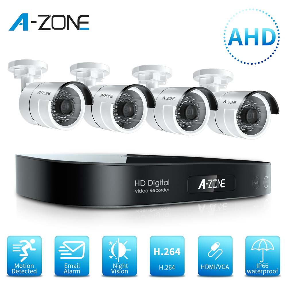 A-ZONE 8CH 1080P AHD CCTV Kamera Sicherheit System Kit IR Nachtsicht Wasserdicht DVR Outdoor/Home 2.0MP Video überwachung System