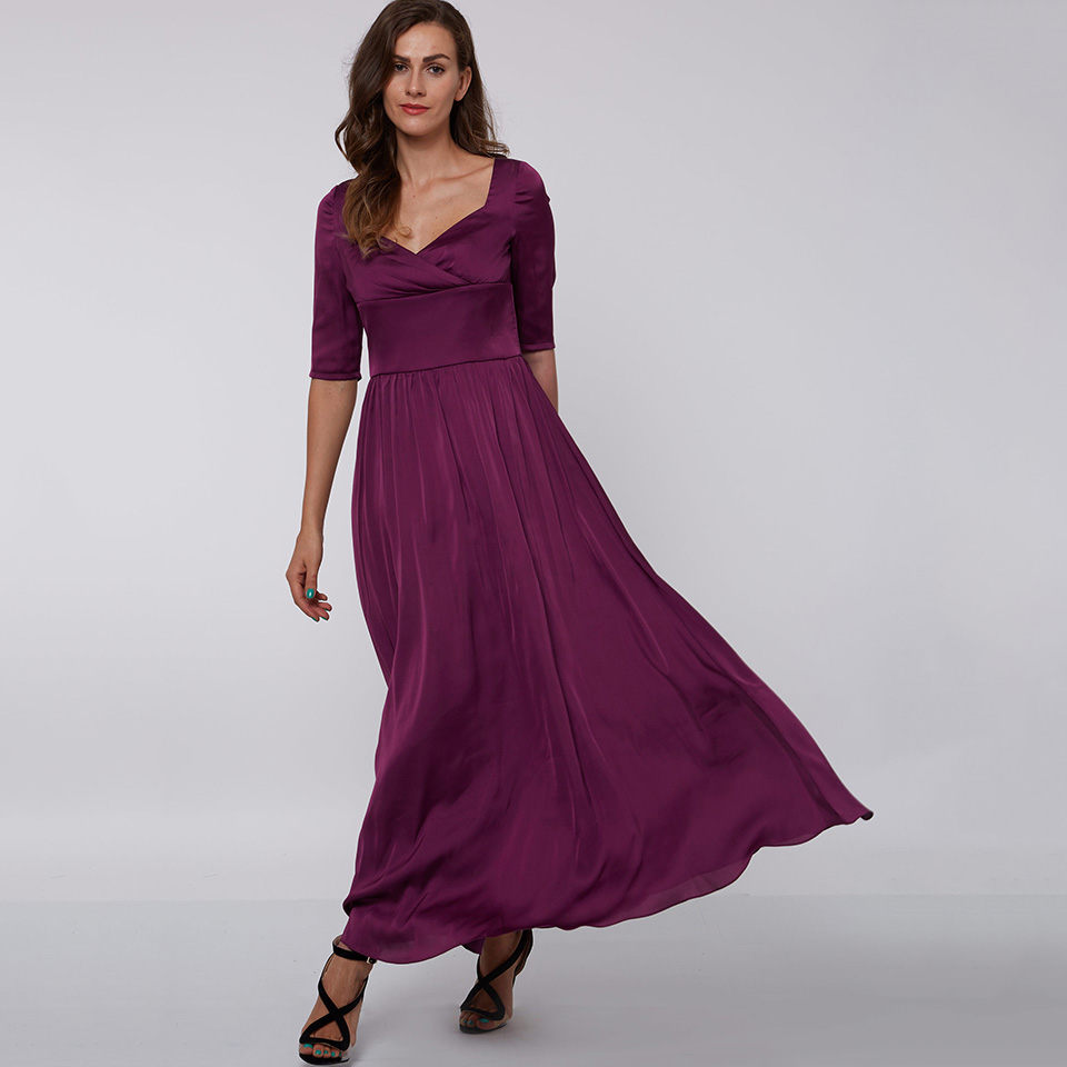 Dressv Purple Long Evening Dress Cheap Square Neck Draped Half Sleeves Wedding Party Formal Dress A Line Evening Dresses
