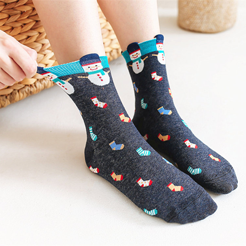 New Cotton Christmas Socks Women&Men Autumn Winter New Year Gift Santa Claus Christmas Tree Snow Elk Happy Socks Colourful Socks