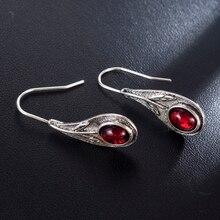 Pendientes largos de plata de ley 2020 hechos a mano estilo Retro con gemas para Pendientes colgantes con forma de hoja de gota para regalo de boda para novia Kolczyki