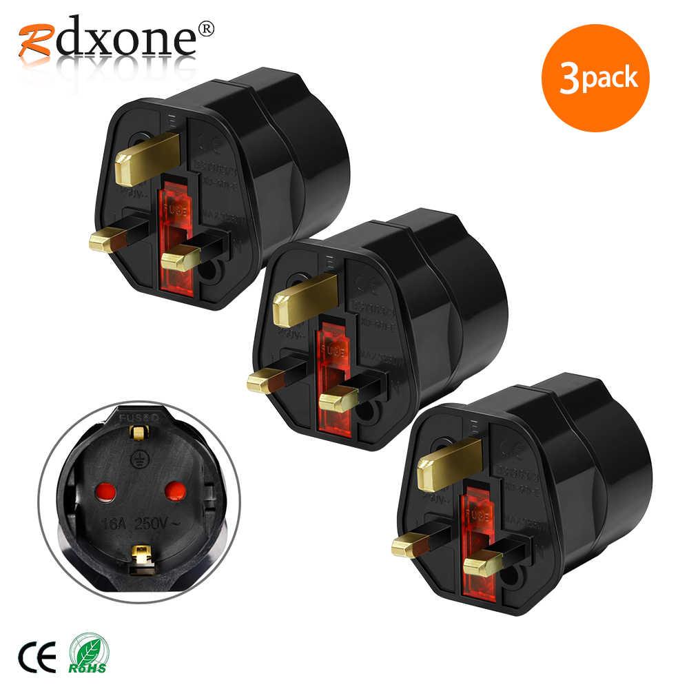 Rdxone EU 2 Pin to UK 3 Pin преобразователь питания, вилка, адаптер переменного тока, дорожный преобразователь, Европейский 250 в 16 А