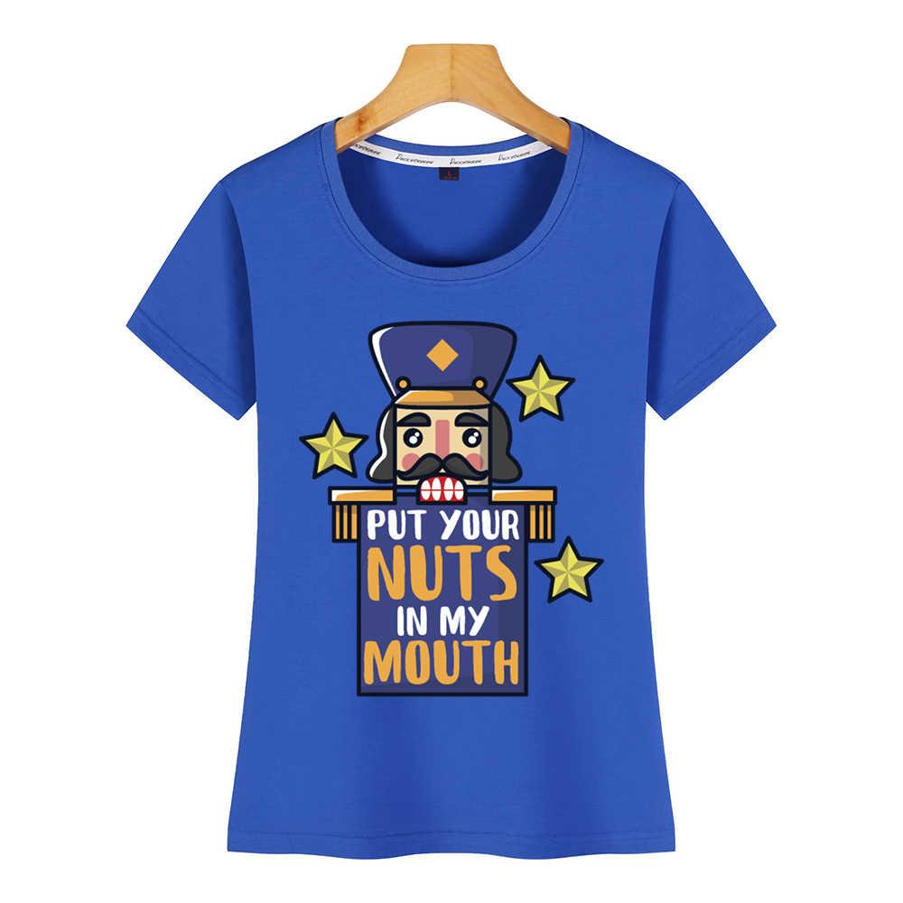 Magliette e camicette T Delle Donne Della Camicia schiaccianoci mettere il tuo nuts in bocca di Base Nero Femminile Breve Maglietta