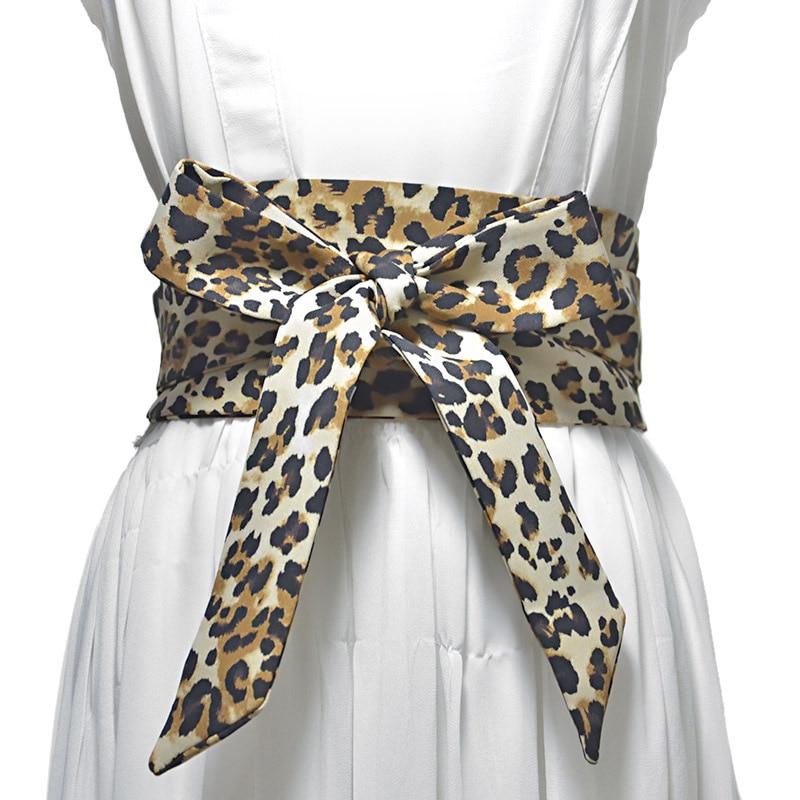 New Lace Up Waistband HOT Women Wide Belt Leopard Cummerbund Fashion Ribbon Bow Tie Decorative Belts Decoration Gifts VKAC1010