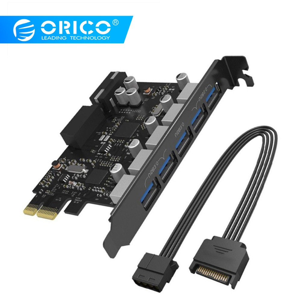 Orico pci-e expansão post cartão 5 portas usb 3.0 pci express cartão 5 gbps compatível para windows xp linux com 4 pinos cabo de alimentação