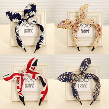 New Style 1 Pcs Women Hairband Fabric Bow Knot Hair Hoop Rabbit Ears Headband for Headwear Accessories