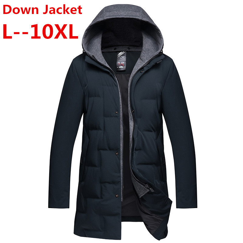 10XL 8XL 6XL 5X  Men Winter Outdoors Long Trench Coat Down Jacket Thickening Hooded Black Parka Coats Free Shipping Big Size
