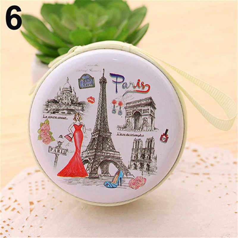 Portátil Mini Bonito Rodada Carteira para Meninas Dos Desenhos Animados Torre Eiffel Moeda Chave Titular do Fone de ouvido Caso Saco