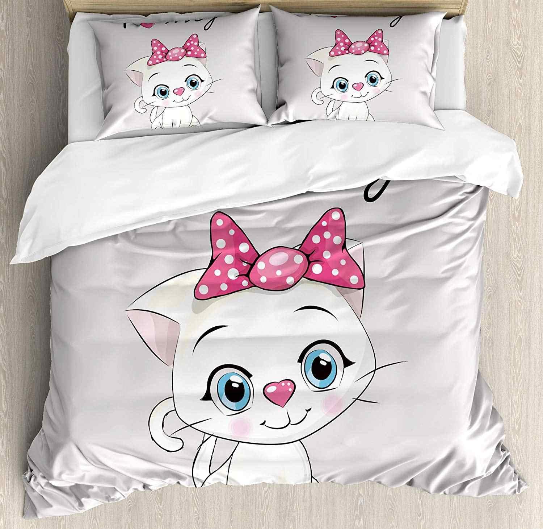 Anak Kucing Selimut Penutup Set Kartun Domestik Kucing Putih Pipi Merah Muda Berbulu I Love My PET Bertema Cetak Dekoratif 3 Buah set Tempat Tidur