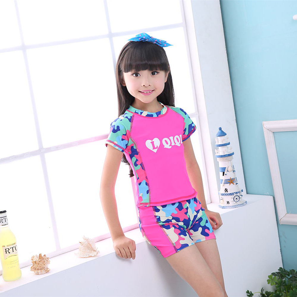 Two-piece Swimsuits Two Piece Set Boxer Little Girl CHILDREN'S Swimwear Sports Middle And Large Girls Cute Swimwear 4-11-Year-Ol
