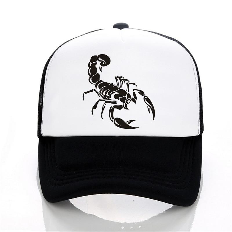 Summer Mesh Baseball Cap Men Women Adjustable Snapback Hat Print Animal Scorpion Caps Trucker Hat Dad Hip Hop Cap Bone