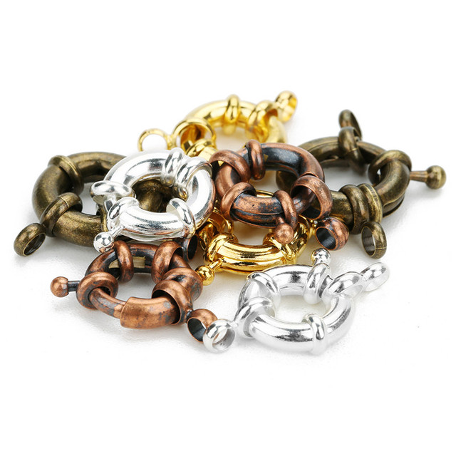 10pcs Copper Sailor Clasps Connector Fit Charm Bracelets End Clasps DIY Jewelry Making Findings Round Clavicle Necklace Clasp 3