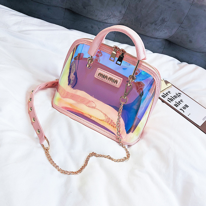 S.IKRR Transparent Bag Clear Shoulder Bag Luxury Designer Handbags Women Bags 2020 Laser Holographic Sequins Small Shell Bags