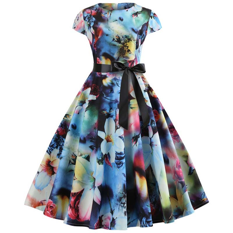 Women Retro Vintage Dresses Summer Hepburn 50s 60s Rockabilly Floral Print Bow Pinup Ball Grown Party Robe Plus Size Vestidos