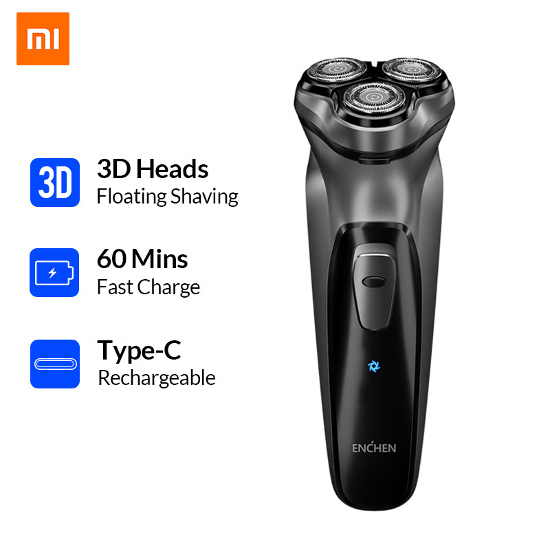 Xiaomi Enchen Black Stone 3D Electric Shaver 3 Floating Blocking Protection Rechargeable Beard Razor Trimmer Type C USB for Men    -